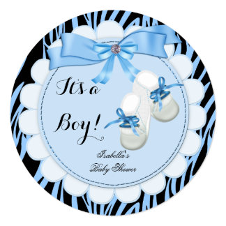 "Zebra Baby Shower Boy Blue Cute Blue Booties shoes 5.25"" Square Invitation Card"
