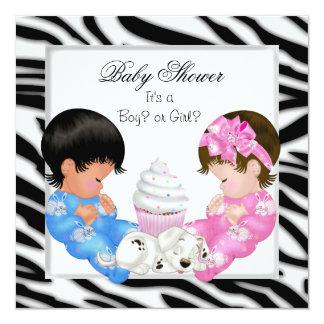 Zebra Baby Shower Gender Reveal Couples Card