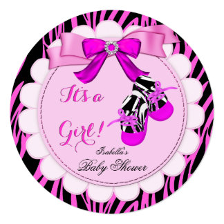 "Zebra Baby Shower Hot Pink Girl Cute Girl Booties 5.25"" Square Invitation Card"