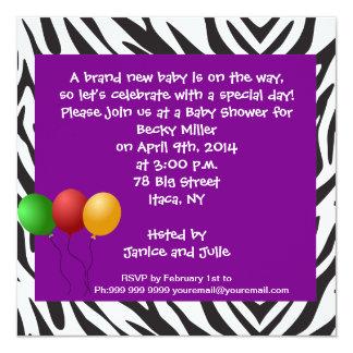 Zebra Baby Shower Party Purple 5.25x5.25 Square Paper Invitation Card
