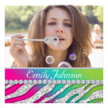 Zebra Bachelorette Party Pink Green Jewellery Personalized Announcement