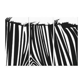 Zebra Back Black White Wrapped Canvas Print