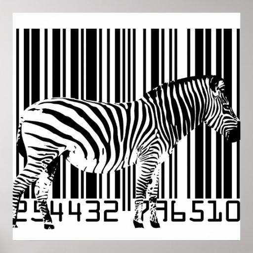Zebra Barcode Art Poster