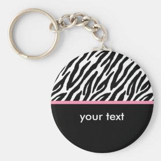 Zebra Basic Round Button Key Ring