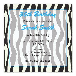 Zebra Birthday 13 Cm X 13 Cm Square Invitation Card