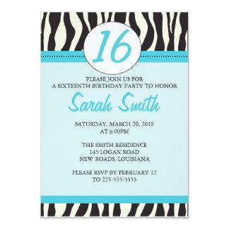 Zebra Birthday 13 Cm X 18 Cm Invitation Card