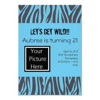 Zebra Birthday Invites (Blue)