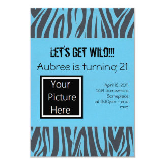 "Zebra Birthday Invites (Blue) 3.5"" X 5"" Invitation Card"