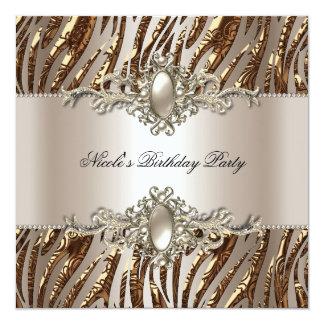 Zebra Birthday Party Pearl Cream Coffee 13 Cm X 13 Cm Square Invitation Card