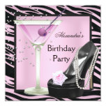 Zebra Birthday Party Pink Black Shoes Personalized Announcements
