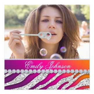 Zebra Birthday Party Pink Purple Orange Jewelry Custom Announcements