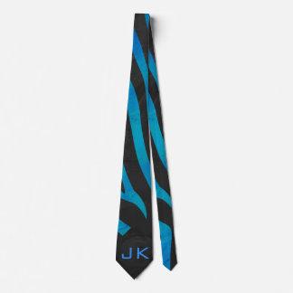 Zebra Black and Blue Print Tie