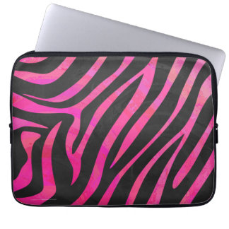 Zebra Black and Hot Pink Print Laptop Sleeve