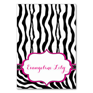 Zebra Black and Hot Pink Tent Table Card