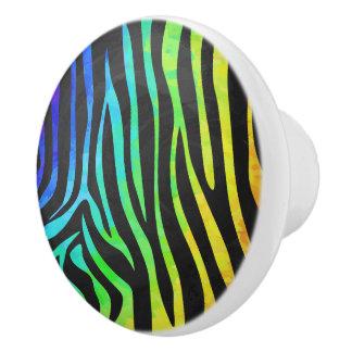 Zebra Black and Rainbow Print Ceramic Knob