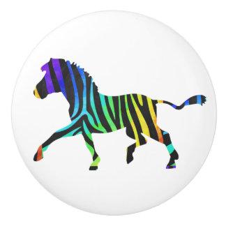 Zebra Black and Rainbow Silhouette Ceramic Knob