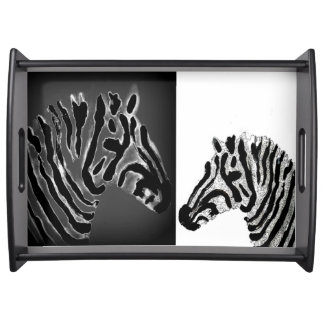 Zebra black and white striped Art Serving Tray