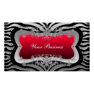 Zebra Black Red Silver Elegant Business Business Card