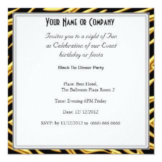 Zebra Black Tie birthday Party Invitation