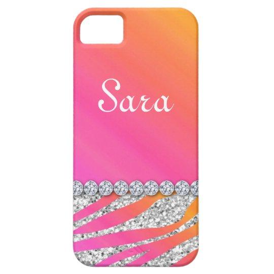 Zebra Bling iPhone 5 Case Cover Cute Orange