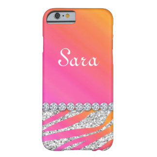 Zebra Bling iPhone 6 case Cute Orange Pink Barely There iPhone 6 Case