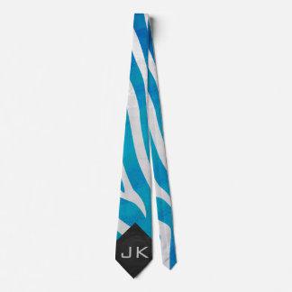 Zebra Blue and White with Monogram Tie
