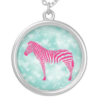 Zebra Bokeh Silver Plated Necklace