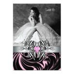Zebra Bow Sweet 16 Party Invite Photo Card Floral