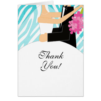 Zebra Bridal Shower Thank You Note Card