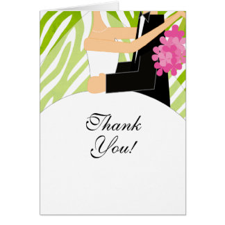 Zebra Bridal Shower Thank You Note Card