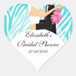 Zebra Bride Groom Bridal Shower Sticker Turquoise
