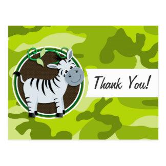 Zebra; bright green camo, camouflage postcards