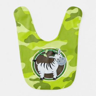 Zebra bright green camo camouflage bibs