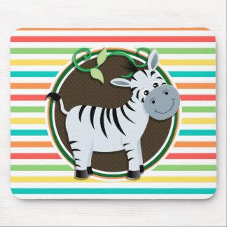 Zebra Bright Rainbow Stripes Mousepad