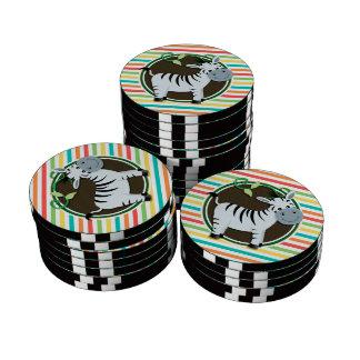 Zebra; Bright Rainbow Stripes Poker Chips Set