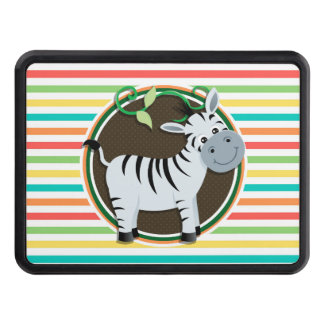 Zebra; Bright Rainbow Stripes