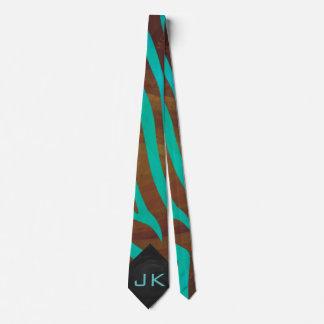 Zebra Brown and Teal Print Tie