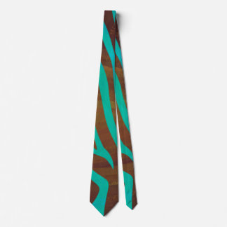 Zebra Brown and Teal Print Tie