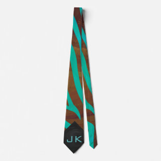 Zebra Brown and Teal with Monogram Tie