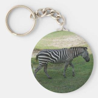 Zebra Button Keychain