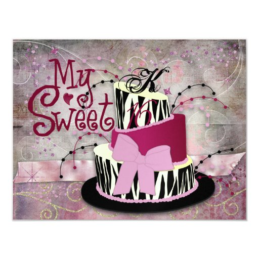 Zebra Cake Sweet 16 Invitations