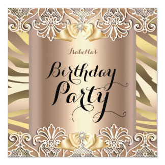 Zebra Coffee Beige Elegant Lace Birthday Party 13 Cm X 13 Cm Square Invitation Card