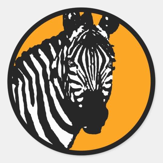 zebra. colour customisable. classic round sticker