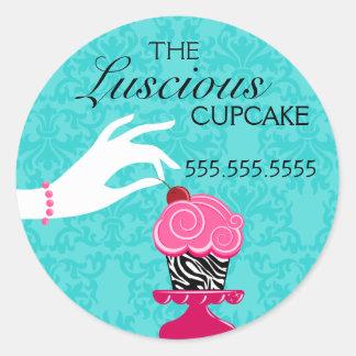 Zebra Cupcake Turquoise Damask Bakery Seals Round Sticker