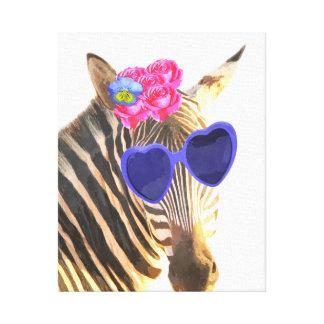 Zebra cute funny jungle animal nursery kids room canvas print