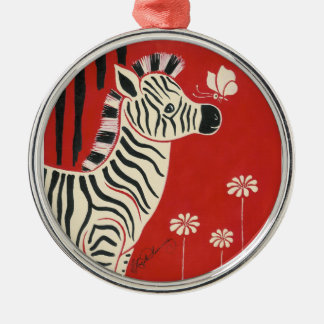 Zebra, Daisies & Butterfly Christmas Ornament