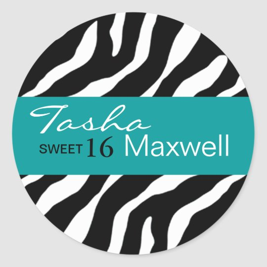 Zebra Damask Fabulous Sweet 16 Party Sticker