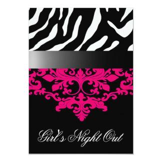 Zebra Damask Girl's Night Out Bachelorette Party 13 Cm X 18 Cm Invitation Card