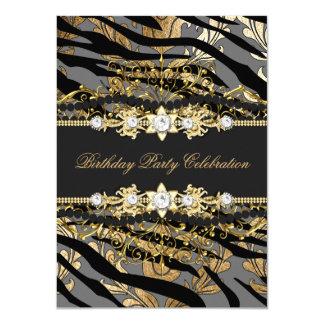 Zebra Damask Gold Black Foil Beige Elegant Party 11 Cm X 16 Cm Invitation Card