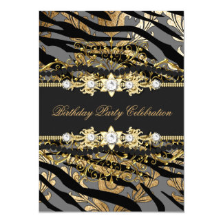 Zebra Damask Gold Black Foil Beige Elegant Party Card